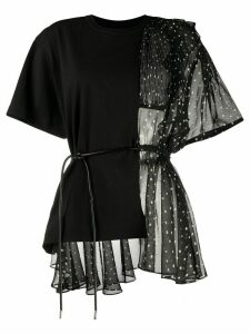 Sacai panelled asymmetric blouse - Black