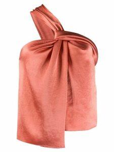 Nanushka satin one-shoulder blouse - ORANGE
