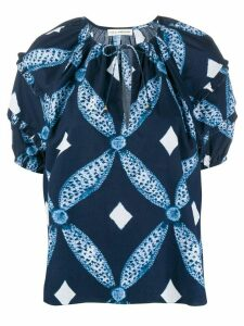Ulla Johnson short sleeve geometric print blouse - Blue