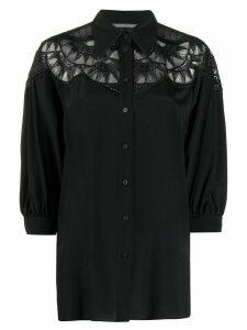 Alberta Ferretti lace panel shirt - Black