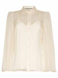 Gucci sheer pleated sleeve shirt - White