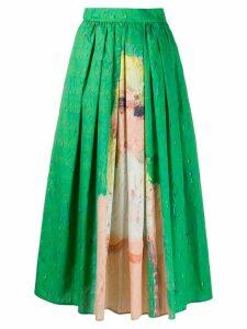 MSGM flounce pleated print skirt - Green