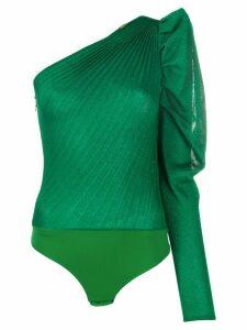 Elisabetta Franchi ruffled one shoulder top - Green