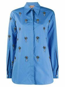 Nº21 crystal-embellished buttoned shirt - Blue