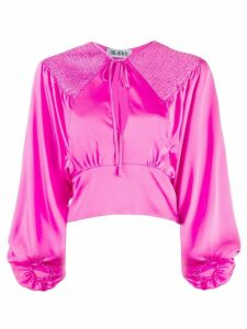 The Attico cropped ruched blouse - PINK