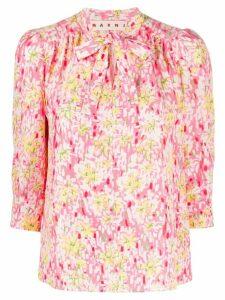 Marni floral print silk blouse - PINK