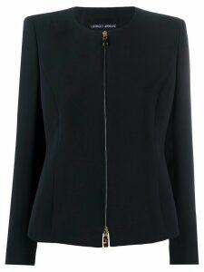 Giorgio Armani zipped fitted jacket - Blue