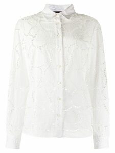 Talbot Runhof ivy leaves fitted blouse - White