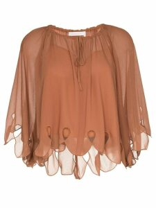 See by Chloé scalloped tie-neck blouse - Brown