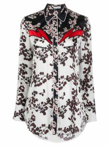 Paco Rabanne floral panelled shirt - Blue