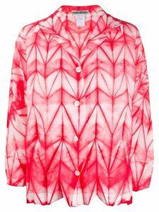 Issey Miyake button down geometric-print shirt - Red