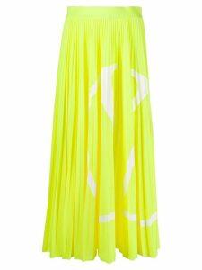 Valentino VLOGO print pleated midi skirt - Yellow