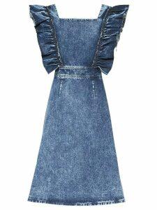 Miu Miu ruffled sleeve denim dress - Blue