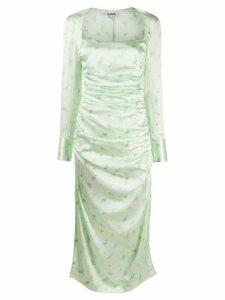 GANNI ruched floral print dress - Green