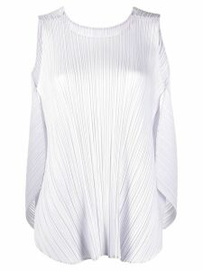 Pleats Please Issey Miyake pleated cocoon-back tank top - NEUTRALS