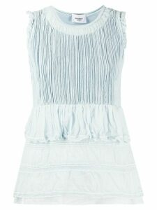 Dondup embroidered ruffled tank top - Blue
