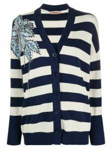 Twin-Set beaded-flower striped cardigan - White