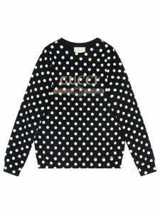 Gucci logo-print polka-dot sweatshirt - Black