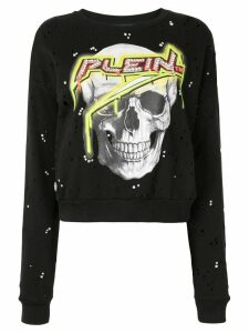 Philipp Plein Skull print distressed effect sweatshirt - Black