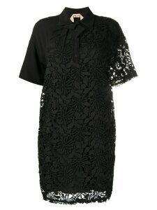 Nº21 floral lace shirt dress - Black
