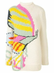 Tory Burch butterfly-intarsia mock neck sweater - White