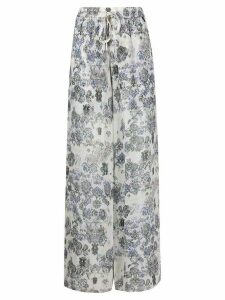 IRO Zallie printed wide-leg trousers - White