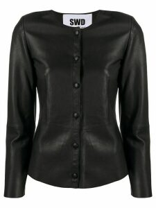 S.W.O.R.D 6.6.44 leather shirt jacket - Black