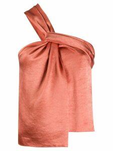 Nanushka one-shoulder satin blouse - ORANGE