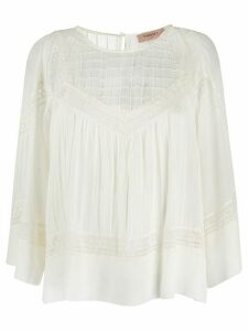 Twin-Set lace embroidered cotton blouse - White