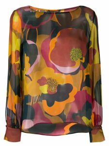 Luisa Cerano silk abstract floral print blouse - PINK
