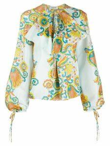 LANVIN Flower Swirl print blouse - Blue