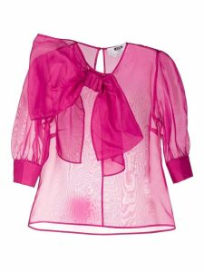 MSGM sheer bow blouse - PINK