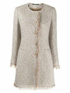 Tagliatore fringed-edge collarless tweed coat - NEUTRALS