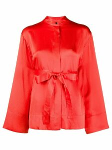McQ Alexander McQueen wide sleeves belted silk blouse - Red