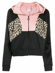 Puma zip up leopard print hoodie - Black