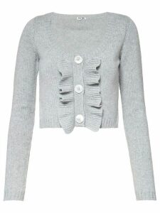 Miu Miu cropped ruffle knitted cardigan - Grey