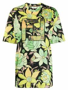 Fendi FF motif floral print T-shirt - Black