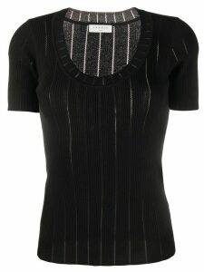 Sandro Paris ribbed knit scooped neck top - Black