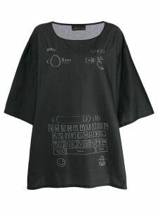 Barbara Bologna keyboard-print cotton blouse - Black