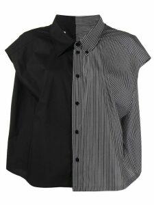 Mm6 Maison Margiela contrast panel button down shirt - Black
