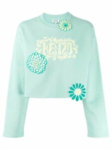 Kenzo Flower cropped sweatshirt - Blue