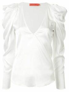Manning Cartell structured shoulder V-neck blouse - White