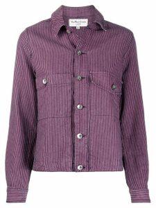 YMC stripe print shirt jacket - PINK