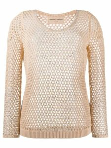 Ermanno Scervino crystal-embellished fishnet jumper - NEUTRALS