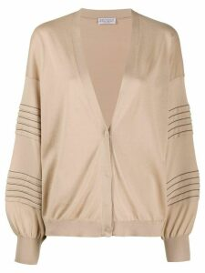 Brunello Cucinelli stud-embellished cotton cardigan - Brown