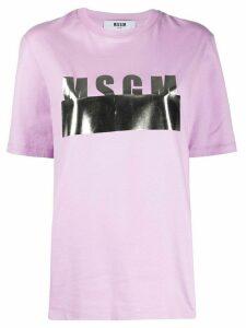 MSGM metallic logo print T-shirt - PURPLE