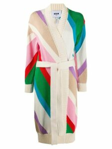 MSGM colour-block tie-waist cardigan - NEUTRALS