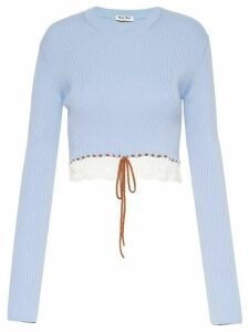 Miu Miu crochet-hem long-sleeve jumper - Blue