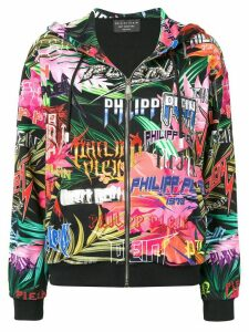 Philipp Plein graphic logo print zipped hoodie - Black