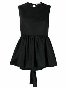 Cecilie Bahnsen ruffled-hem cotton top - Black
